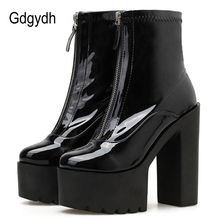 Gdgydh Spring Autumn Patent Leather Boots With Zippers For Women Utral High Heels Shoes Female Nightclub Party Shoes Platform