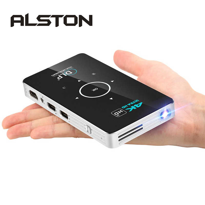 Alston c6 mini 4 k dlp android projetor wifi bluetooth 4.0 portátil led projetor de vídeo cinema em casa apoio miracast airplay