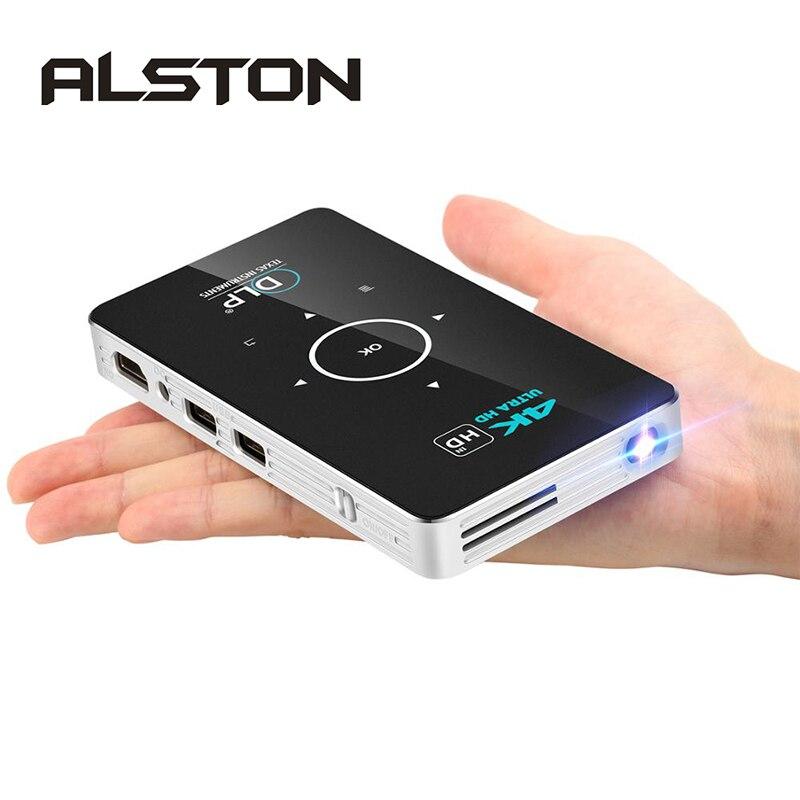 ALSTON C6 Mini 4K DLP Android projecteur WiFi Bluetooth 4.0 Portable vidéoprojecteur LED Home cinéma soutien Miracast Airplay