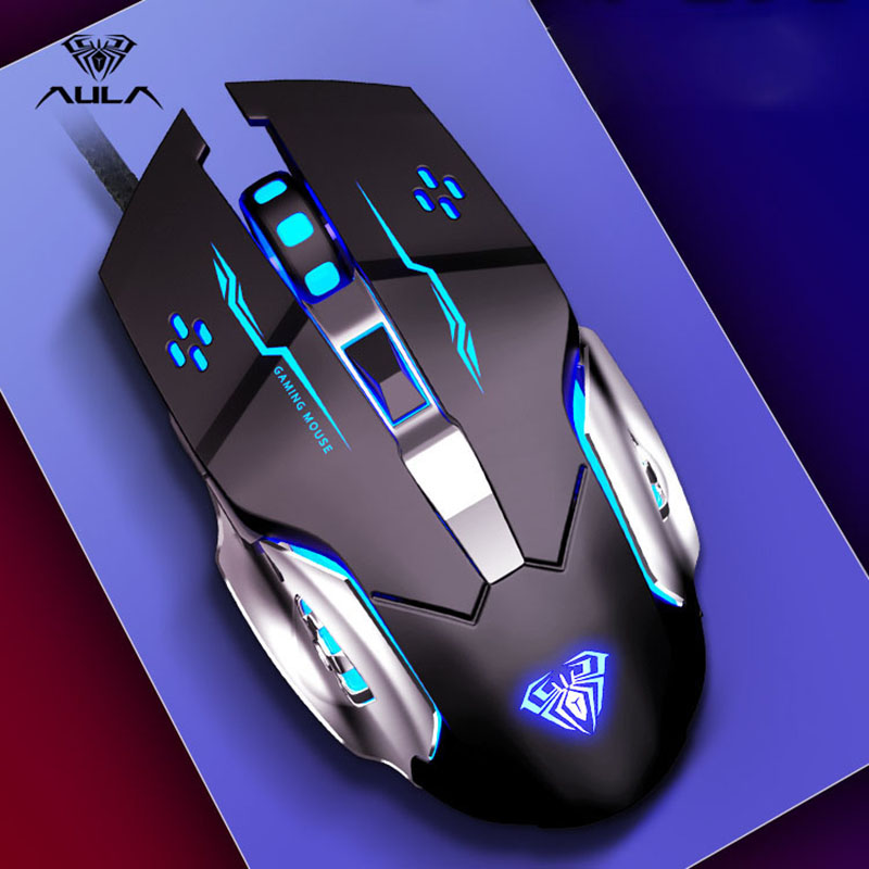 AULA Professional Macro Game Mouse Pro LED Wired Gaming Mouse For Pc Computer Laptop Mice Adjustable 3200 DPI Silent Mause Gamer