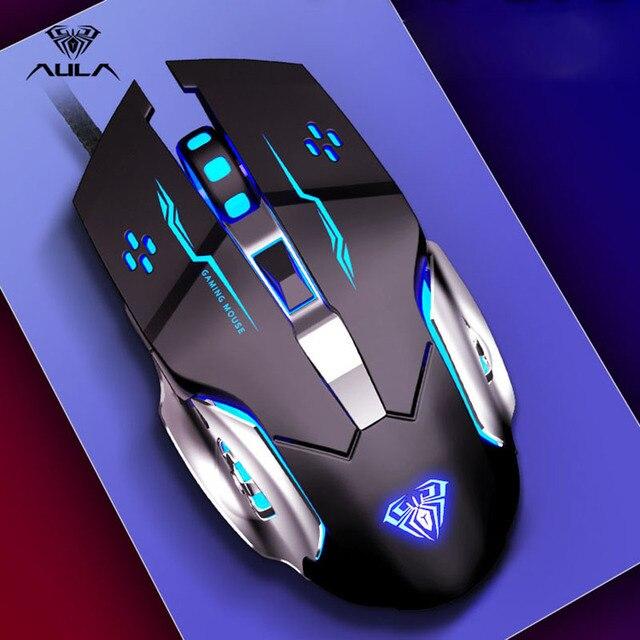 אאולה מקצועי מאקרו משחק עכבר Pro LED Wired עכבר משחקים עבור מחשב מחשב מחשב נייד עכברים מתכוונן 3200 DPI שקט מוס גיימר