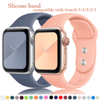 цена на Silicone band for Apple watch 38mm 42mm Soft Rubber Strap 40mm 44mm for iwatch series 5 4 3 2 1 bracelet Sport Watchband
