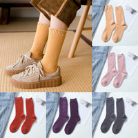 5 Pairs Basic Socks Daily Socks Solid Colors Comb Cotton Knitted Girls Casual Socks High Quality Spring Socks Calcetines