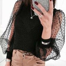 Womens See-through Top Sheer Mesh Slim Fit T-Shirt Lace Organza Ruffled Sleeve