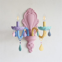 Kid's room Colorful Lamp Modern Makaron Color Crystal Wall Lamps E14 Holder Bedroom Bedside Lamp Wall Sconce Light Fixture