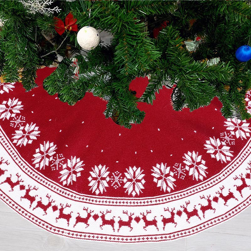 Details about  /Christmas Tree Skirt 36//48Inch Knitted Snowflakes Elk Xmas Tree Skirt Decoration