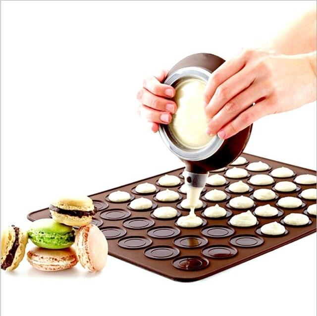 سيليكون معكرون معكرون المعجنات فرن الخبز قالب ورقة حصيرة 30 تجويف DIY بها بنفسك قالب الخبز حصيرة أدوات مفيدة