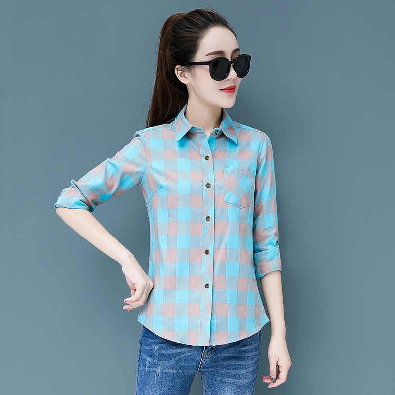 5XL 大サイズの女性ブラウス 2019 秋カジュアル長袖スリム格子縞のシャツファッションレディース韓国ブラウスプラスサイズ 4XL