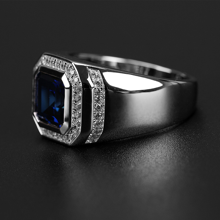 Hot DealsÉ925-Sterling-Silver Jewelry Charm Diamond-Ring Engagement Sapphire Male Real for Party-Accessory