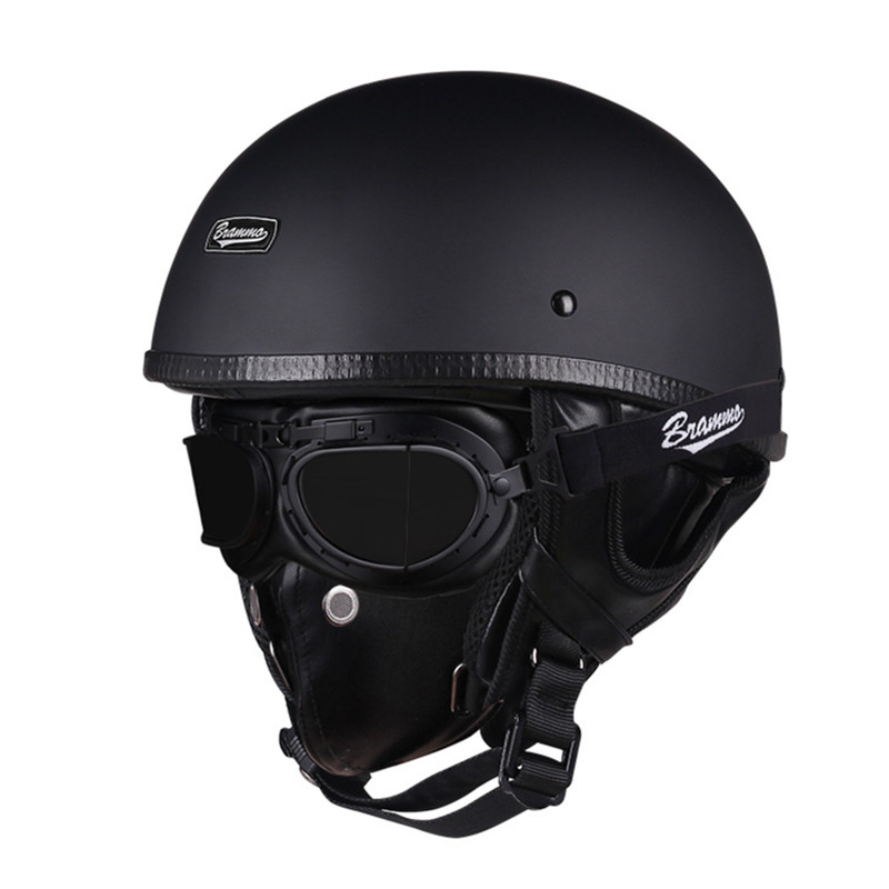 Vintage Motorcycle Scooter Helmet Skull Half-Helmet Casco Retro with Goggles-And-Mask