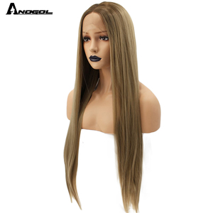 Image 2 - Anogol Natural High Temperature Fiber Long Silky Straight Blonde Ombre Dark Roots Synthetic Lace Front Wig For White Women