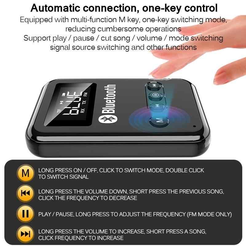 Aozbz bluetooth 5.0 レシーバトランスミッタステレオ音楽車の fm 送信機ヘッドフォンスピーカーサポート tf カード