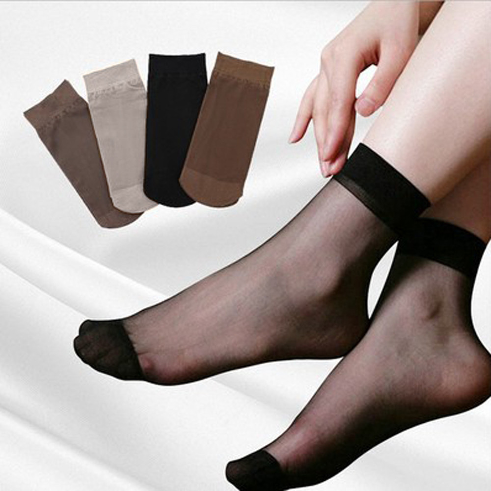 10 Pairs Sexy Women Girls Ultra Thin Elastic Silk Girl Short Stockings High Elastic Black Nylon Short Stockings Female 1.4