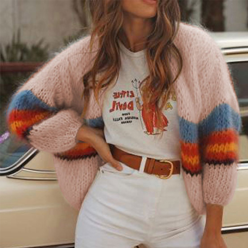 Women's Patchwork Knitted Cardigan Sweater Pull Sleeve Loose Casual Cardigans For Female 2019 Autumn Fashion Sweaters Coat Women