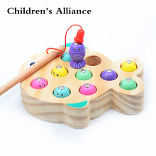 Children Wooden Toys Magnetic Games Fishing Toy Game Kids 3D Fish Baby Kids Educational Toys Outdoor Funny Boys Girl недорого