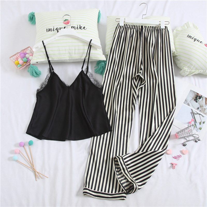 Lisacmvpnel Satin Stripe Women Pajamas Spaghetti Strap Pants Set Pyjamas