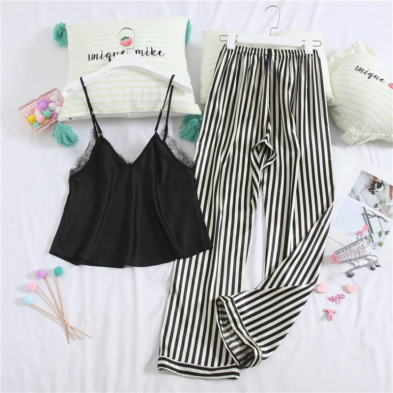 Lisacmvpnel Satin Stripe Women Pajamas Spaghetti Strap Pants Set Pyjamas