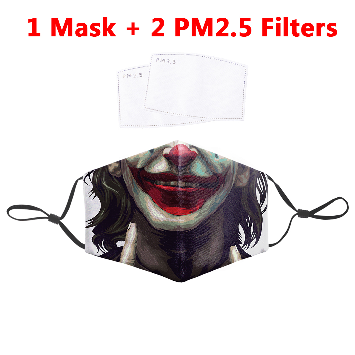 Funny Joker 3D Hip Hop Print Mask Face Filter PM2.5 Reusable Protective Masks Anti Dust Bacteria Proof Flu Mouth-Muffle Mask
