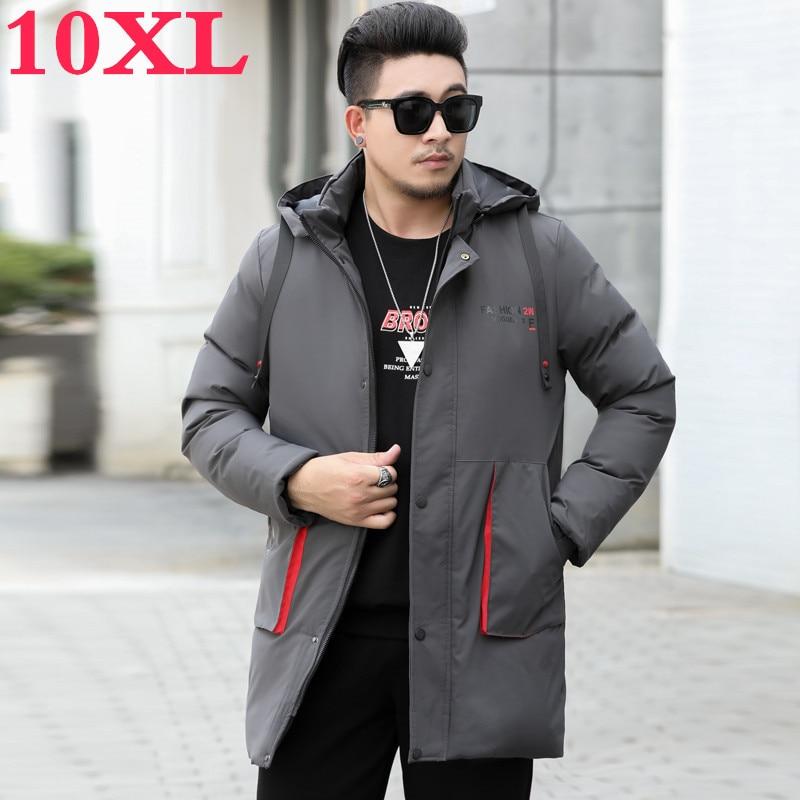 Big Plus Size 10XL 9XL Men Winter New Hooded Jacket Casual Long Parkas Outdoor Men Fashion Warm Thick Pockets Coat Parkas Men