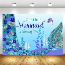 Blue mermaid 1st Birthday Backdrop Silver Fishtail First Birthday Background for Photography Dessert Table Decorations Props 5x7ft dark blue backdrop dark blue ocean world photography background and photography studio backdrop props