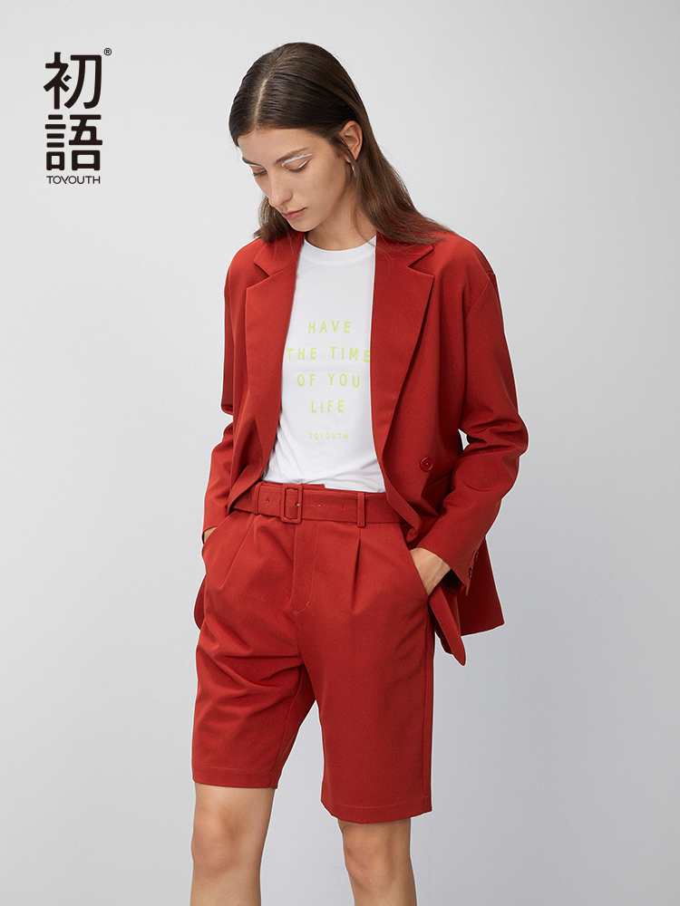 Toyouth 2020 2 Pieces Pants Suits Spring Fashion Embroidery Belt Loose Temperament Outwear Women Suit