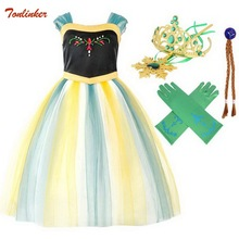 Girls Elsa Dress Christmas Anna Cosplay Costume 2019 New Summer Dresses Girl Princess Anna Dress for Birthday Party Vestido 2017 summer style girls elsa anna princess dresses girl butterfly printed sleeveless formal girl dresses teenagers party dress
