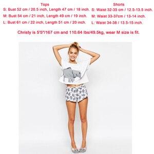 Image 2 - Elephant Pajama Set Women Graphic White Cotton Sexy Cute Home Tops Shorts Loungewear Nightwear Sleepwear Teen Girl Plus Size