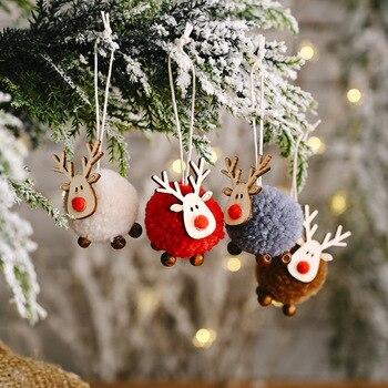 Cute Felt Wooden Elk Christmas Tree Decorations Hanging Pendant Deer Craft Ornament Christmas Decorations for Home New Year 2021 christmas xmas elk display window new year ornament simulation deer decorations reindeer simulated toy kids gift