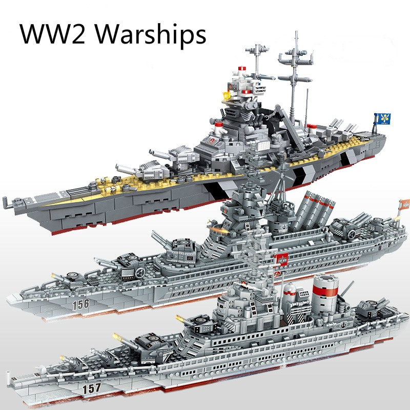 WW2 Military Warships Series Building Blocks Battleship Model Compatible  WW2 Military Soldier Weapon Toys
