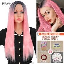 Peluca de pelo largo y liso para mujer, de 24 pulgadas pelo sintético, color rosa degradado, peluca Natural gris, pelucas para uso diario de fibra resistente al calor, Riversa