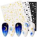 Геометрические 3D наклейки для ногтей, звезды, луна, узоры, переводные наклейки, наклейки, бумажные украшения, аксессуары для дизайна ногтей, ...