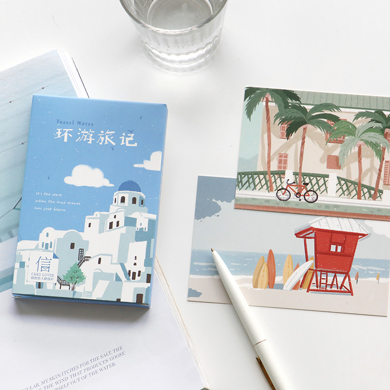 30 Sheets/Set Novelty Travel Notes Postcard Hand Painted Landscape Greeting Card Message Card Birthday Gift Card