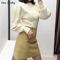 Star firefly elegant wild slim stripes Za sweater female 2019 solid color round neck puff sleeve short sweater women