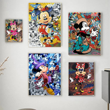 Disney Abstract Mickey Mouse Canvas Painting Graffiti Street Art Prints and Posters Wall Art for Kids Room Home Decor Cuadros
