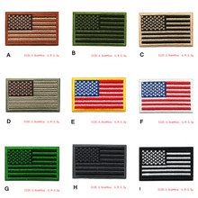 American Flag Design Patch USA Military Flag Tactical Morale Badge Hook Loop Embroidery Patches The Stars And Stripes Armband(China)