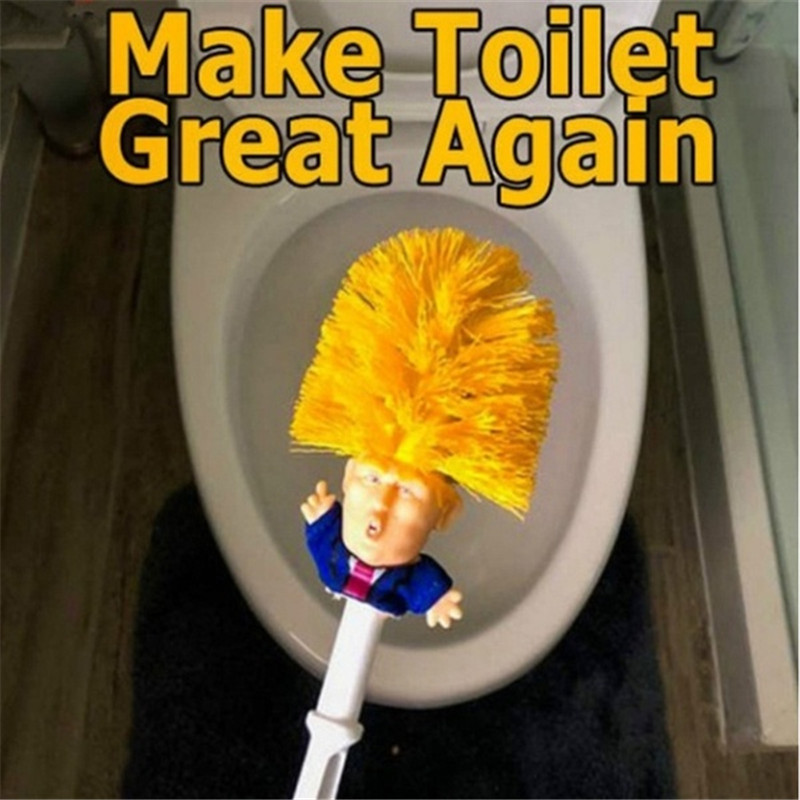 Novelty Donald Trump Toilet Bowl Brush Make Your Toilet Great Again HaHa Funny Gag Party Gift