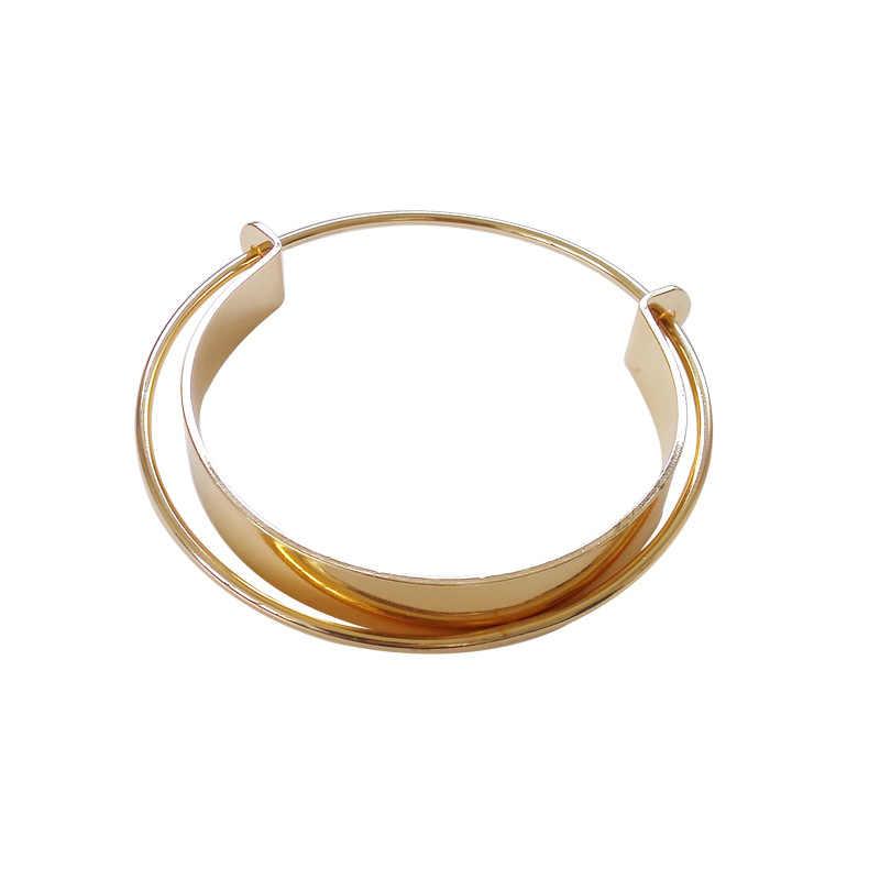 מבריק שכבה כפולה צלב פתיחת תכשיטי צמיד לנשים בנות מסיבת היפ הופ פאנק מתכת גיאומטרית צמידי זהב מתנה
