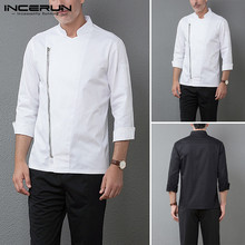 INCERUN Mens Long Sleeve Chef Blouse Solid Color Long Sleeve Chef Jackets Unisex Chef Uniform Kitchen Service Cooking Shirt