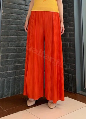 HOT SELLING Miyake Fashion fine fold Narrow side straight   leg     pants   long   pants     wide     leg     pants   IN STOCK