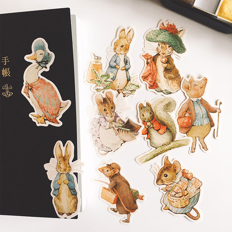 9PCS Peter Rabbit Stickers Crafts And Scrapbooking Stickers Book Kids Toys Decorative Sticker DIY Stationery