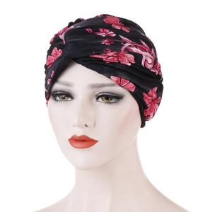 Image 4 - Muslim Women Twist Knot Chemo Cap Cancer Hat Turban Hat Bonnet Head Scarf Wrap Indian Hat Beanies Skullies 2019 Arab Islamic Cap