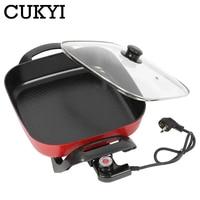 Cukyi 220 v multifuctional máquina de cozimento elétrica fervente stewing chafing prato para casa & dormitório panela de arroz de aço inoxidável|Pan. multifunc.|Eletrodomésticos -