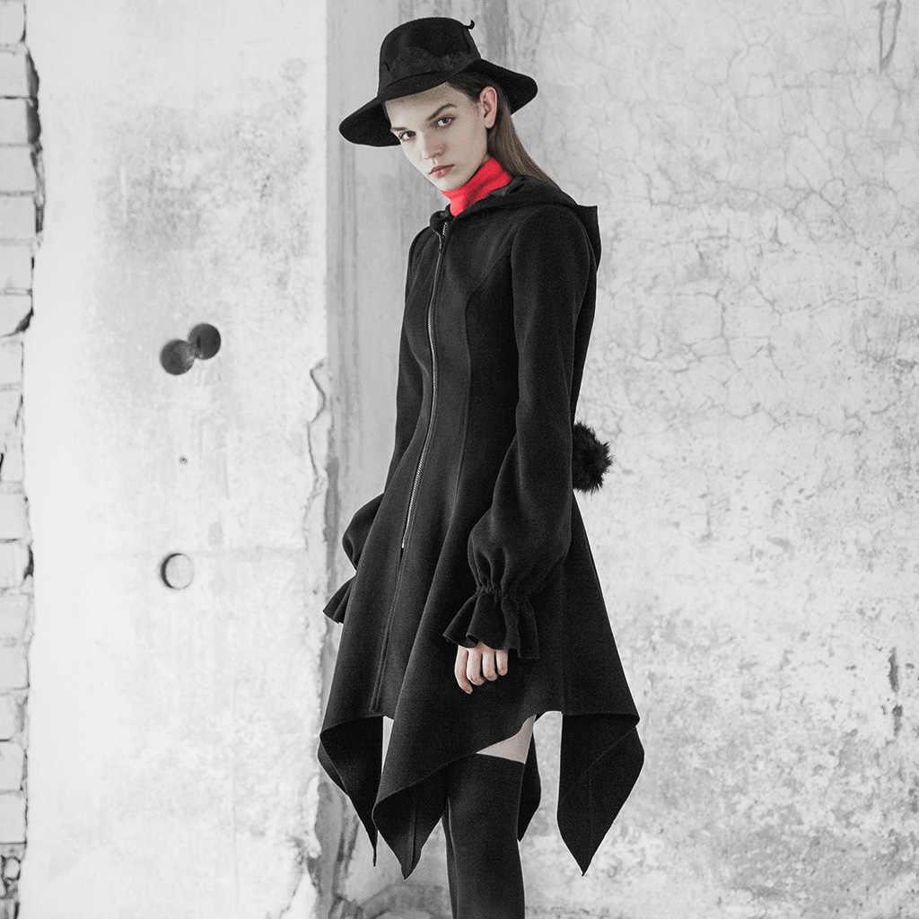פאנק רווה נשים של סדיר Hem צמר מעיל עם כובע דו צדדי צמר Slim Fit שיער כדור קסם המחודד כובע ארוך מעיל