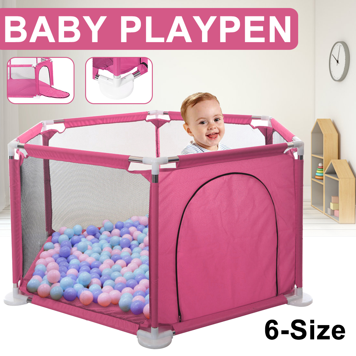 Baby Playpen Fence 6 Panel Safety Barrier Children Playpen Game Tent Barrier US