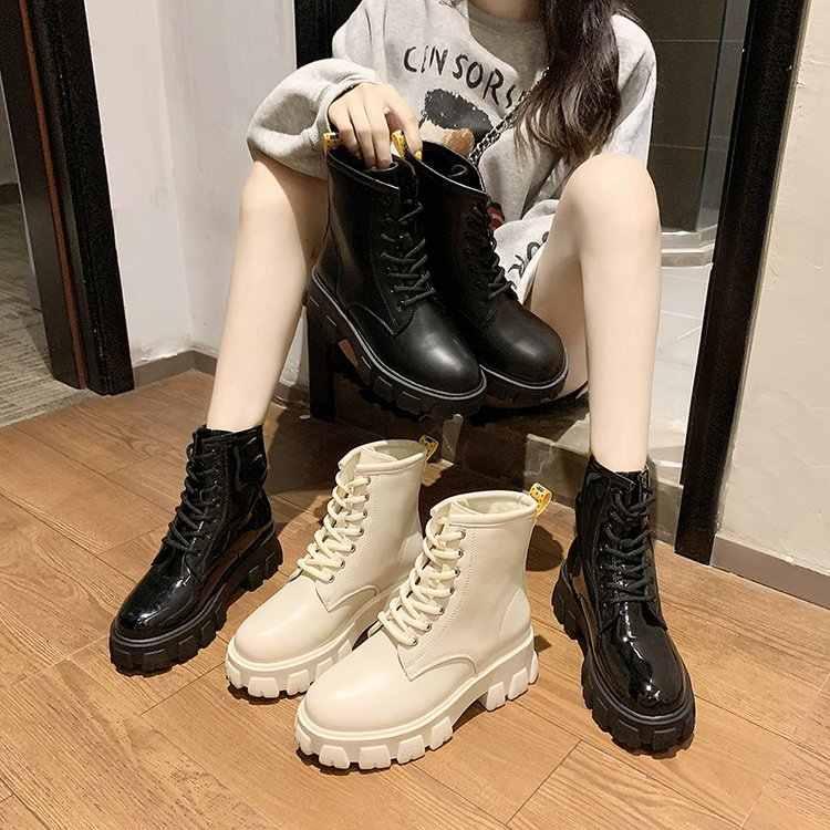 Fujin ผู้หญิงหิมะรองเท้าบูทแฟชั่นฤดูหนาวข้ามผูกรอบ Toe หนาด้านล่าง Plush อุ่นแพลตฟอร์มรองเท้าส้นสูง Causal สั้นรองเท้า