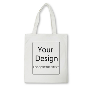 Add Your Design Logo/picture/text Custom Canvas Bags Tote Bag Shopping Print Original Design White Unisex Travel Black(China)
