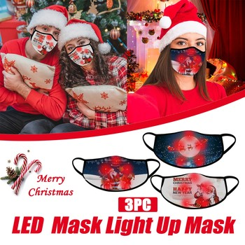 3pc Christmas Colorful Printing Face Mask Led Light Up Mask Christmas Lights Glowing Reusable Washable Mask For Adults Men Women image