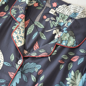 Image 5 - 2 Suits Sleepwear Autumn Classical Magpie Printing Satin Pajamas Long Sleeve Loungewear Women Turn down Collar Thin Home Clothes