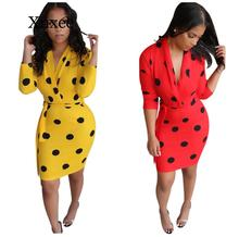 dot dress African women's point print v tie strap bodycon MIDI dresses club partybandage style elgegant neck
