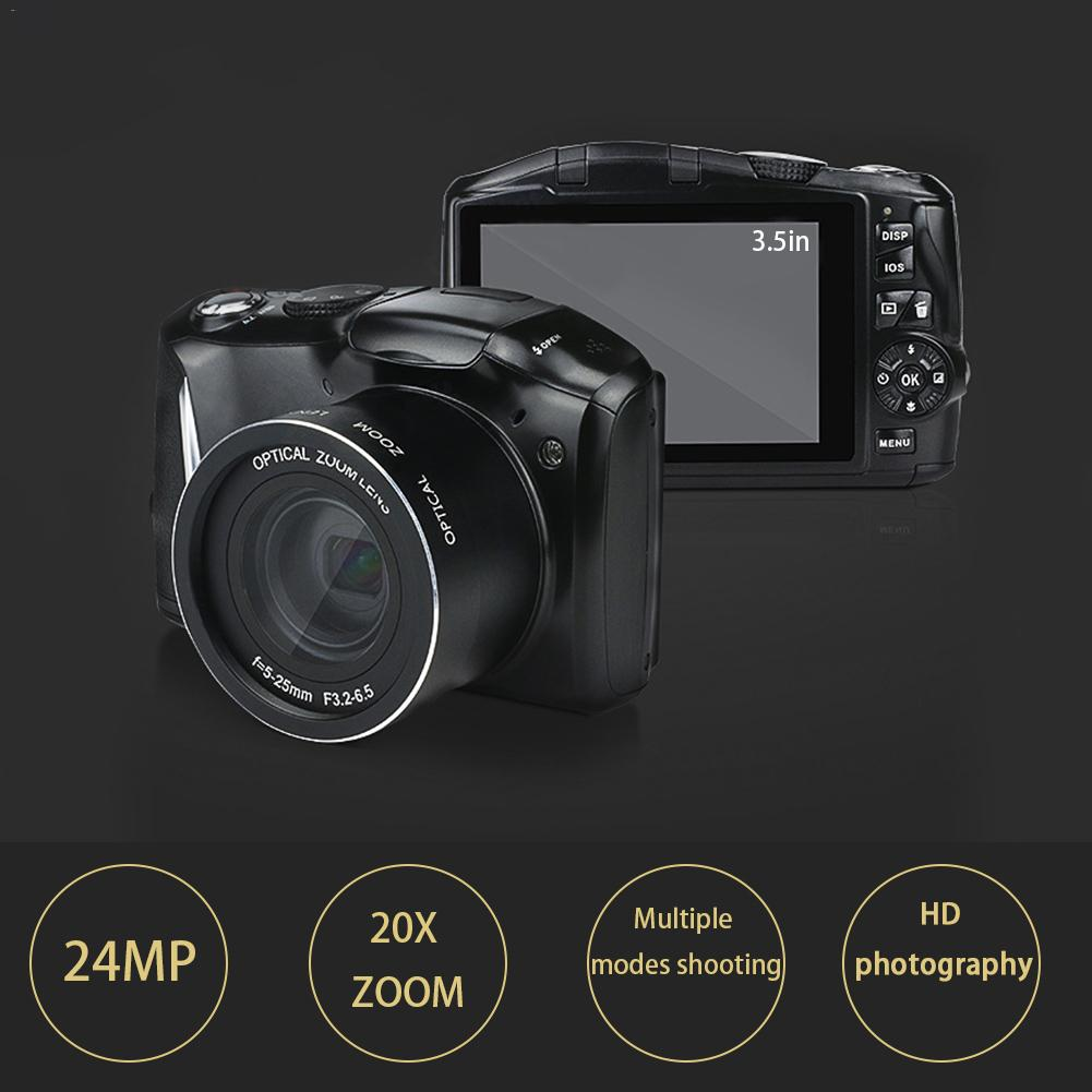 24 Megapixel HD Home Photography Telephoto SLR Digital Camera 14MP CMOS 20 Times Digital Zoom SLR Camera with 3.5 Screen Flash image